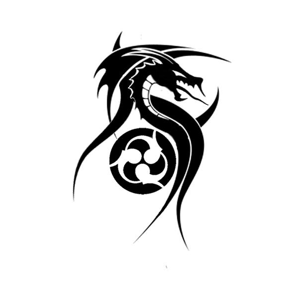 Black tribal dragon and atomic symbol tattoo design by Jonny558
