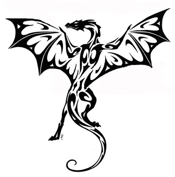 Black tribal dragon with spread wings tattoo design