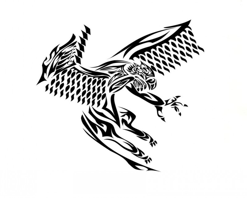 Black tribal flying griffin tattoo design