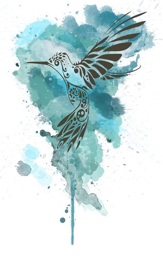 Black tribal hummingbird on blue watercolor background tattoo design