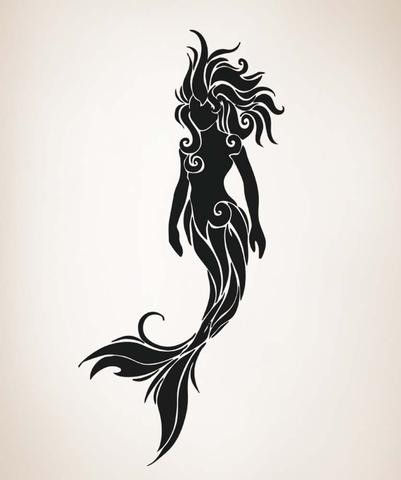 Black tribal mermaid tattoo design