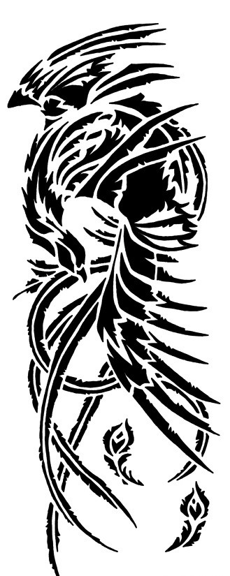 Black tribal phoenix tattoo design by The Red Phoenix
