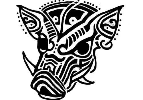Black tribal pig face tattoo design by Clint