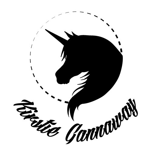 Black unicorn silhouette in dotted frame with lettering tattoo design