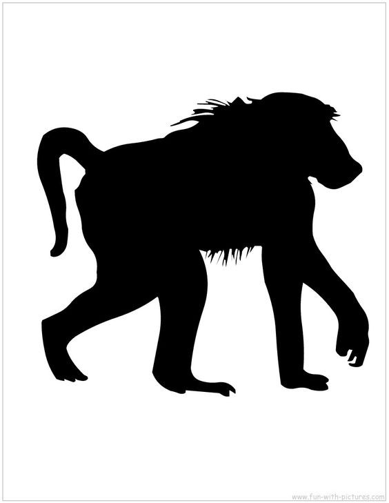 Black walking baboon silhouette tattoo design