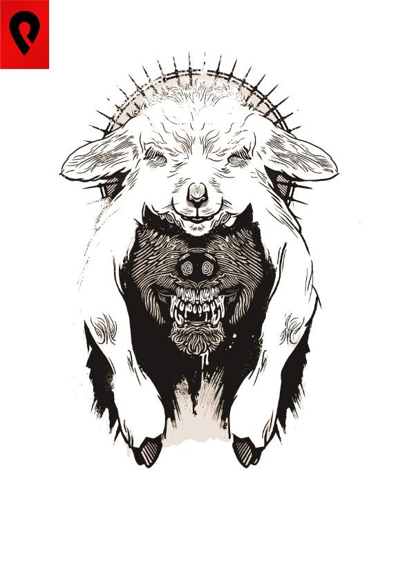 Black wolf in white poor sheep clothing by Darkfejzr