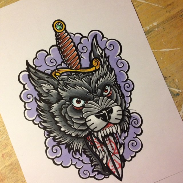 Black wolf killed with a dagger in purple smoke tattoo design
