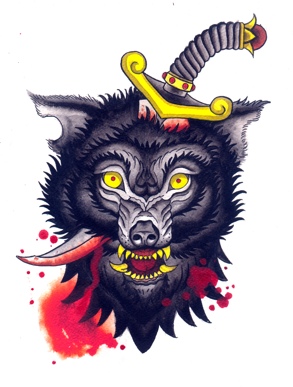 Black wolf pierced with a gold-handle dagger by Urielstempest
