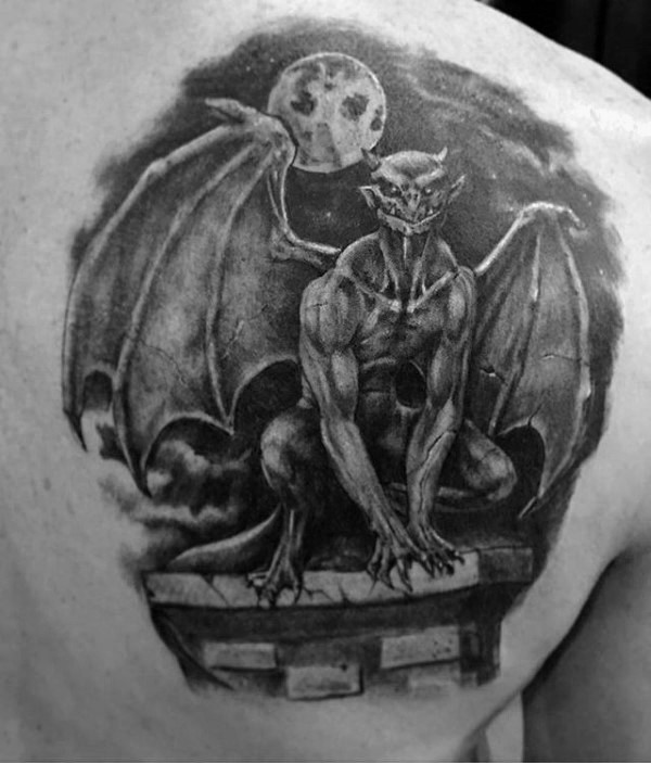Blackwork style amazing painted scapular tattoo of night gargoyle with moon