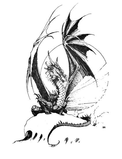 Blak-and-white dragon sitting on rock on moon background tattoo design