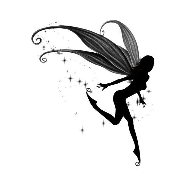 Blak grey-winged fairy running on star background tattoo design