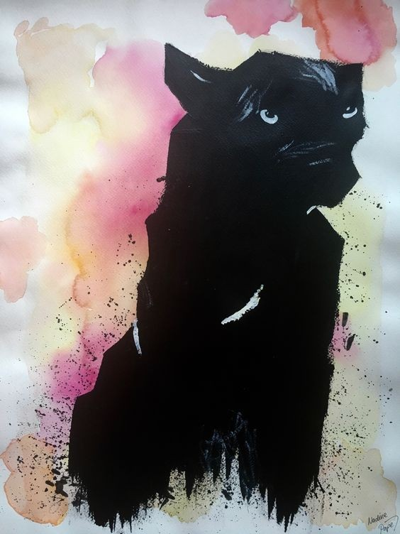 Blak watercolor panther on rosy background tattoo design