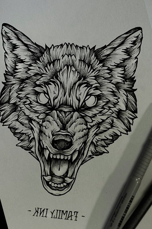 2c577e0ce86b8 Blind-eye gnarling wolf head tattoo design - Tattooimages.biz
