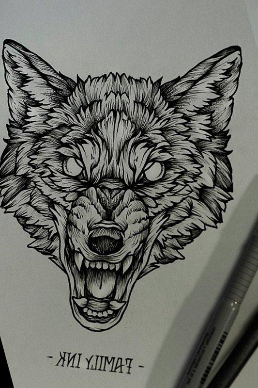 Blind eye gnarling wolf head tattoo design for Wolf eyes tattoo designs