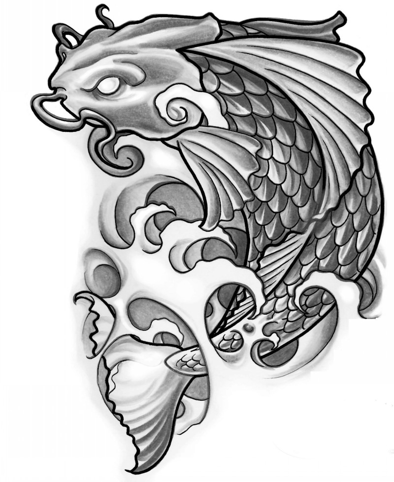 Blind-eyed koi fish tattoo design
