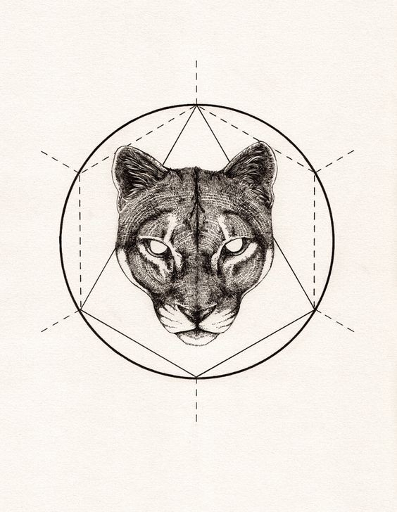 Blind-eyed panther head on geometric background tattoo design