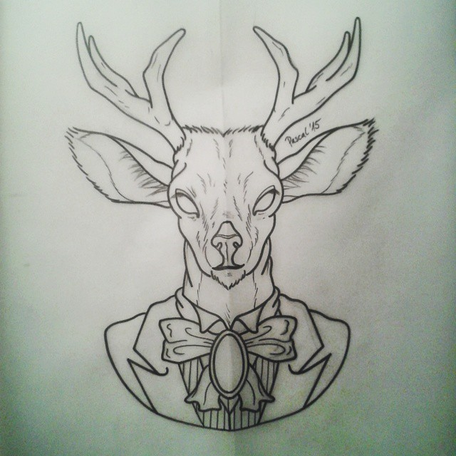 Blind deer in bow and suit tattoo design