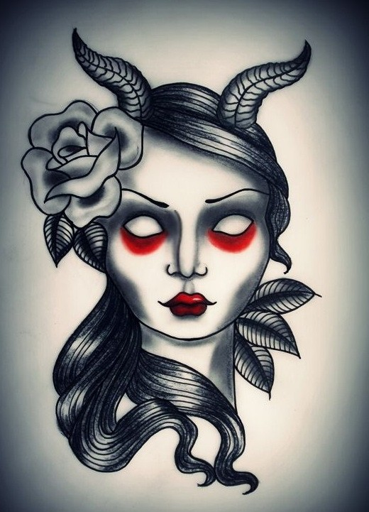 Blind devil girl with red shadows under eyes tattoo design