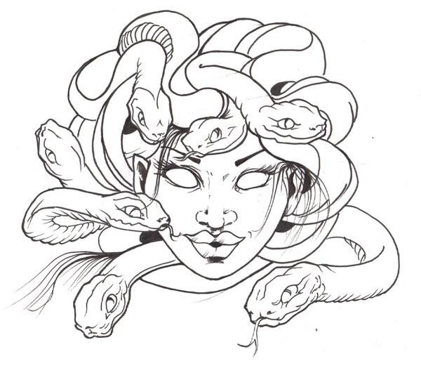 Blind outline smiling medusa gorgona head tattoo design for Medusa coloring page