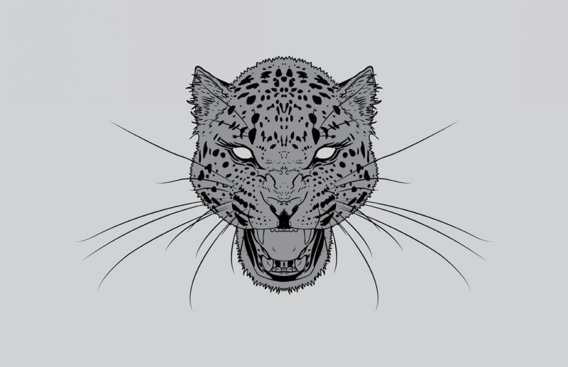 Bling-eyed grey-skin screaming leopard head tattoo design by Karbacca