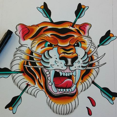 Blooded tiger head killed with arrows tattoo design