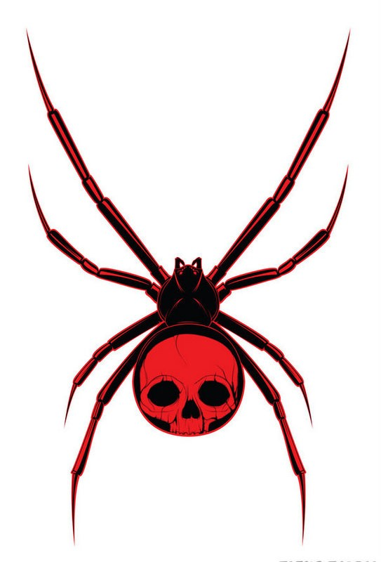 Bloody black spider with skull print on back tattoo design by Avr