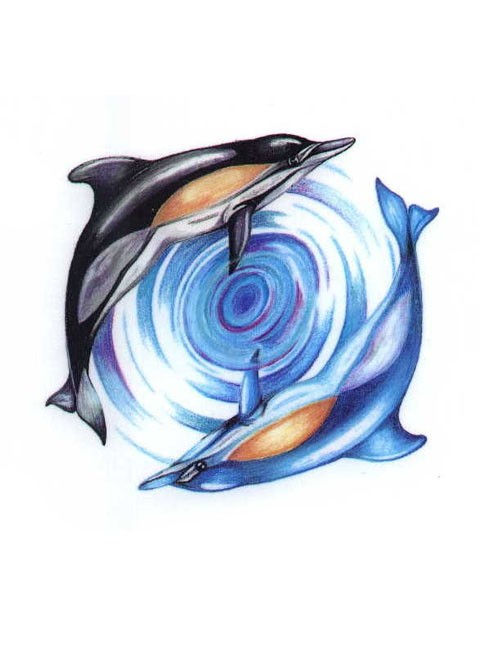 Blue-and-black dolphin couple swimming around water vortex tattoo design