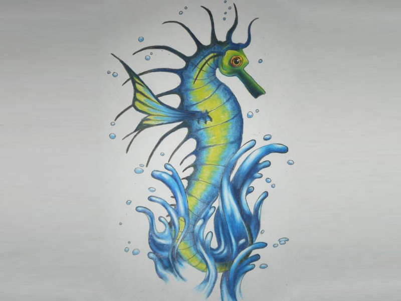 Blue-and-green seahorse splashing in water tattoo design
