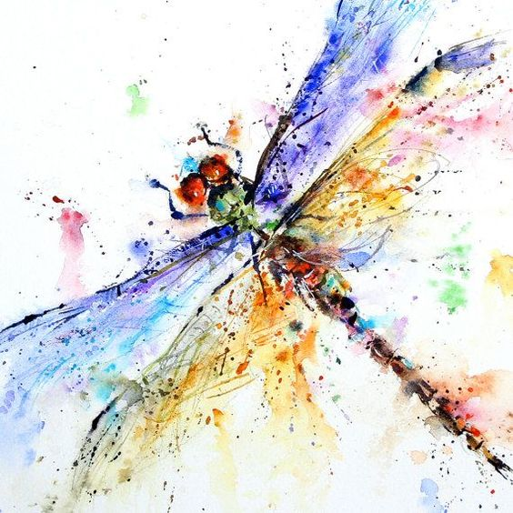 Blue-and-orange winged watercolor dragonfly tattoo design