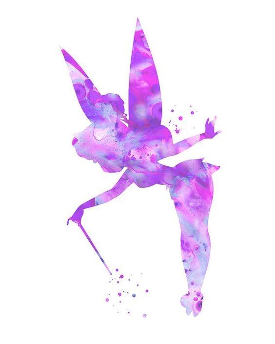 Blue-and-purple watercolor fairy silhouette tattoo design