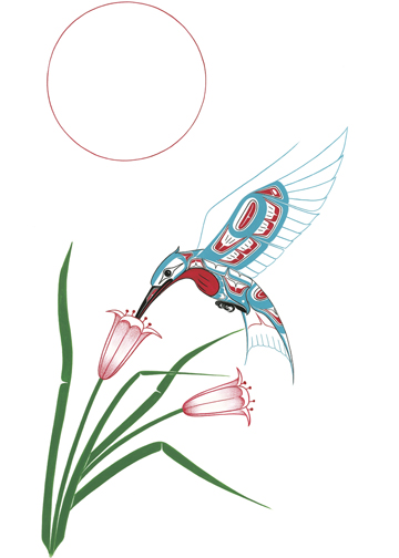 Blue-and-red hummingbird flying ower flowers tattoo design