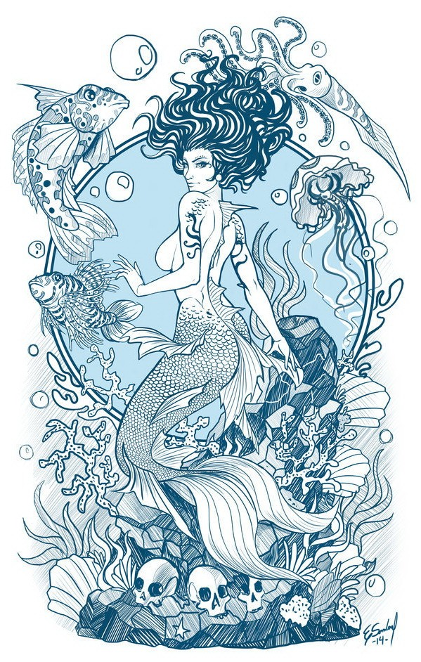 Blue-and-white mermaid among marine creatures and weeds tattoo design