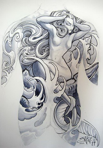 Blue-and-white mermaid in crashing water tattoo design on whole back