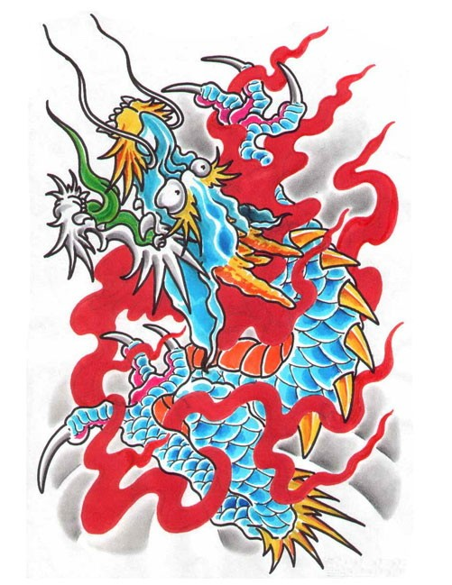 Blue-and-yellow chinese dragon in red flame tattoo design