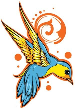 Blue-and-yellow flying sparrow in orange contour tattoo design