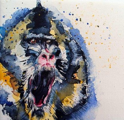 Blue-and-yellow watercolor crying baboon tattoo design