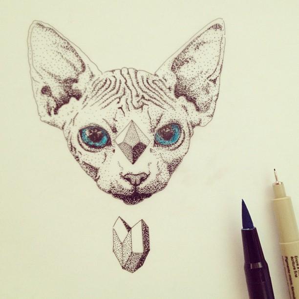 Blue-eyed dotwork sphynx cat with geometric figures tattoo design