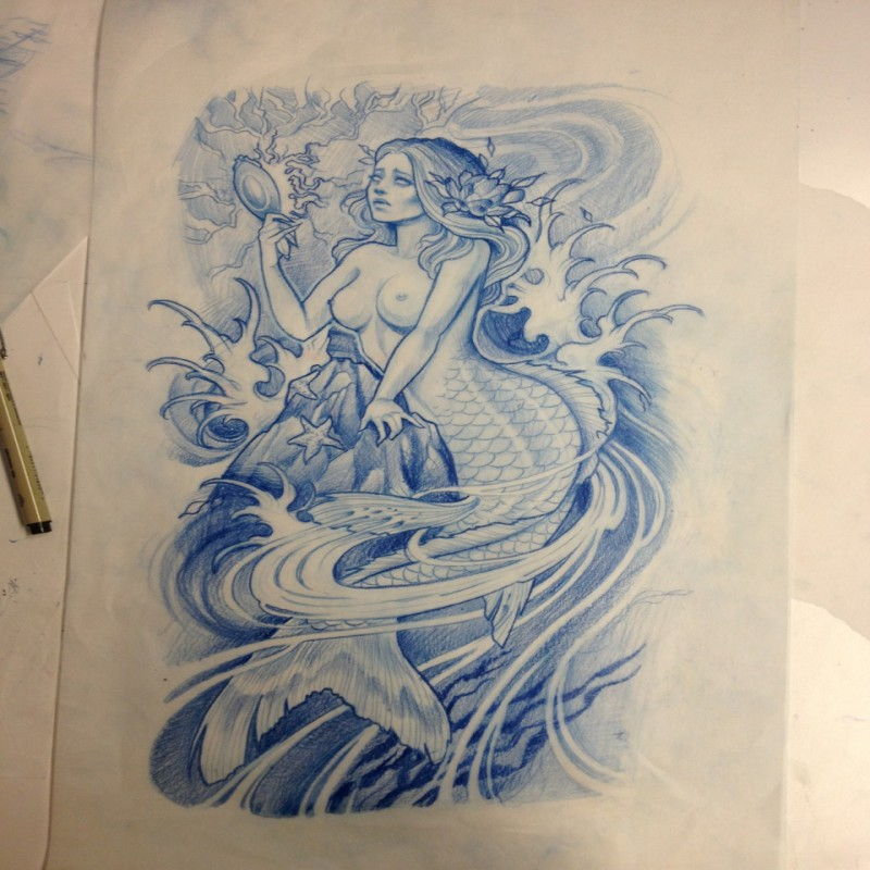 Blue-ink mermaid in crashing water looking in the mirror tattoo design