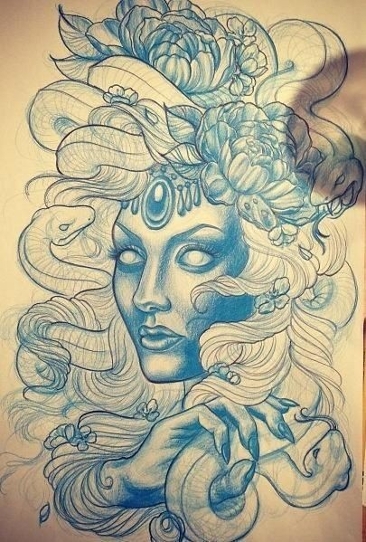 Blue-ink new school medusa gorgona with peony flowers tattoo design