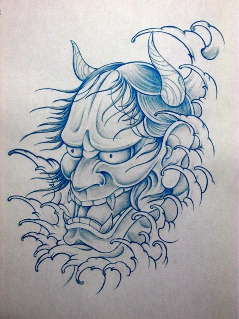 Blue-ink outline devil head in thick smoke tattoo design