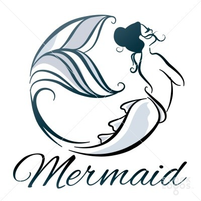 Blue-ink touch-me-not mermaid with lettering tattoo design