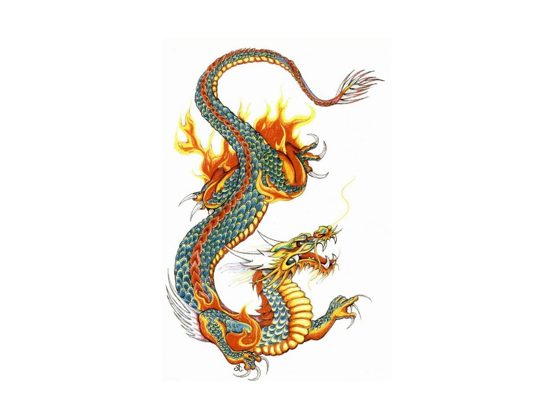Blue-scailed dragon covered with yellow flame tattoo design