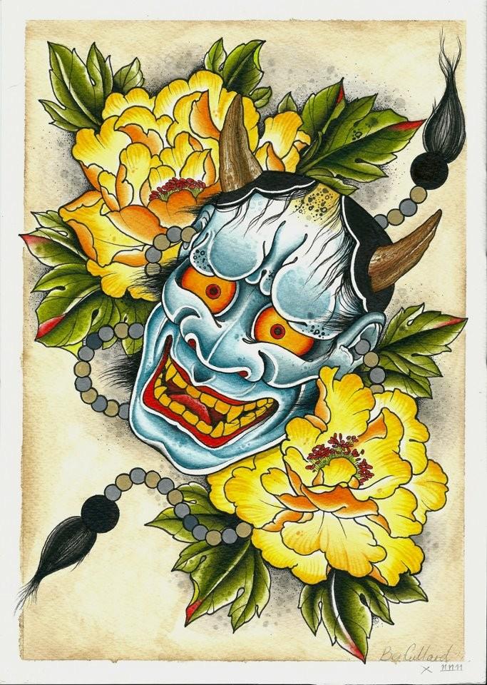 Blue-skin devil head with orange eyes and big yellow peonies tattoo design