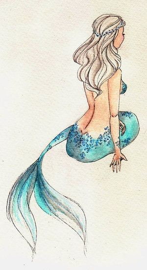 Blue-tail mermaid with white hair from back tattoo design