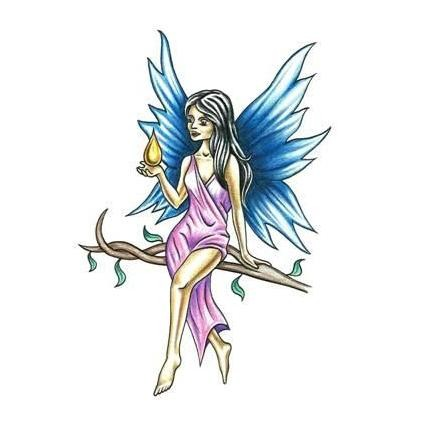 Blue-wing fairy in pink dress with a water drop tattoo design