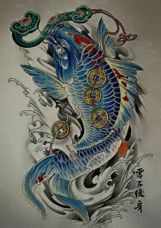 blue chinese fish with a bunch of coins tattoo design. Black Bedroom Furniture Sets. Home Design Ideas