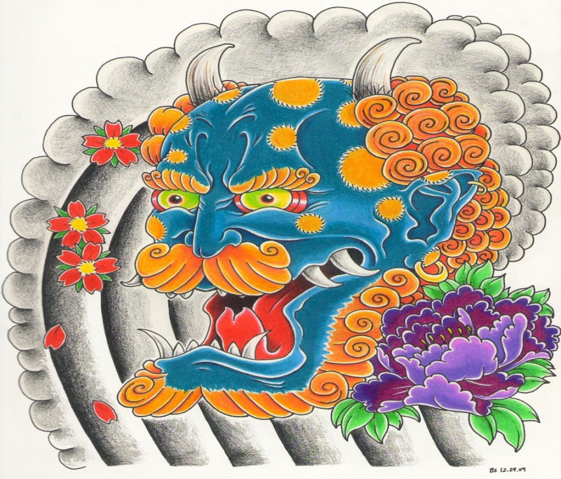 Blue devil with ginger hair and bear tattoo design by Bsguru
