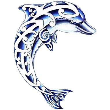 Blue dolphin with white celtic print tattoo design