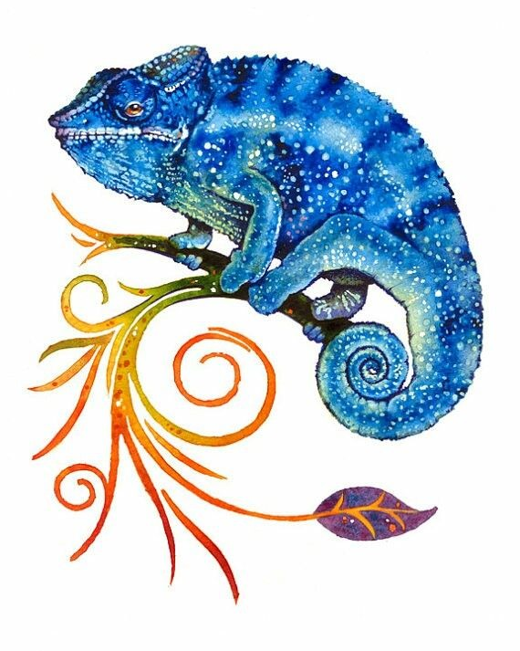 Blue dotted chameleon sitting on curled orange branch tattoo design