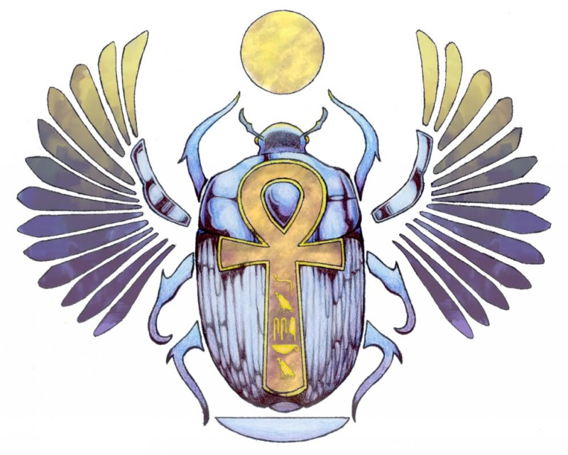 Blue egyptian scarab bug with huge ankh cross symbol print tattoo design